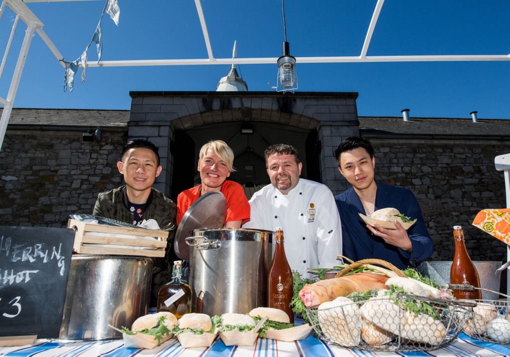 07.06.2016 REPRO FREE For one night only, the historic Limerick Milk Market is being transformed into a street food mecca for 'Urban Food Fest', as producers, market traders, restaurants, and hotels come together for a unique Limerick food event. Launching the event at the Milk Market were, Ryon Wen and Chao Wan from Kyoto Sushi, Kirsti O'Kelly from Silver Darlings and Tom Flavin, Executive Chef Limerick Strand Hotel. The event on the evening of Thursday June 16th will be open to the public with free entry, and guests will purchase tokens as currency to enable them to sample taster plates from various stalls (€15 for 5 tokens). A family friendly event, Urban Food Fest will take place in the Milk Market from 6pm until 10pm as the venue will be transformed to create a unique and festive evening atmosphere that will showcase some of the best food and drink Limerick has to offer. Picture: Alan Place For more information contact: Olivia O'Sullivan 087-2753477 limkfoodgroup@gmail.com